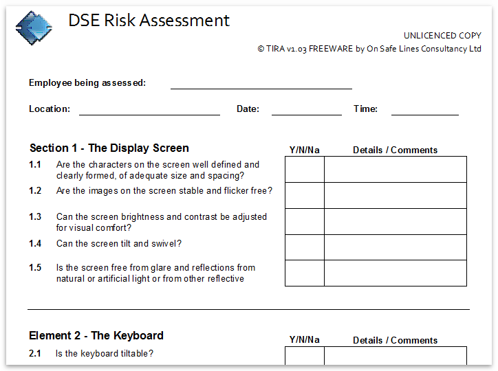 manual handling risk assessment sample
