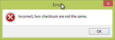 MD5 Checksum Calculator error